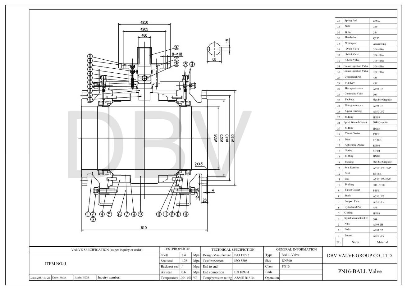 Trunnion Ball Valve Drawing