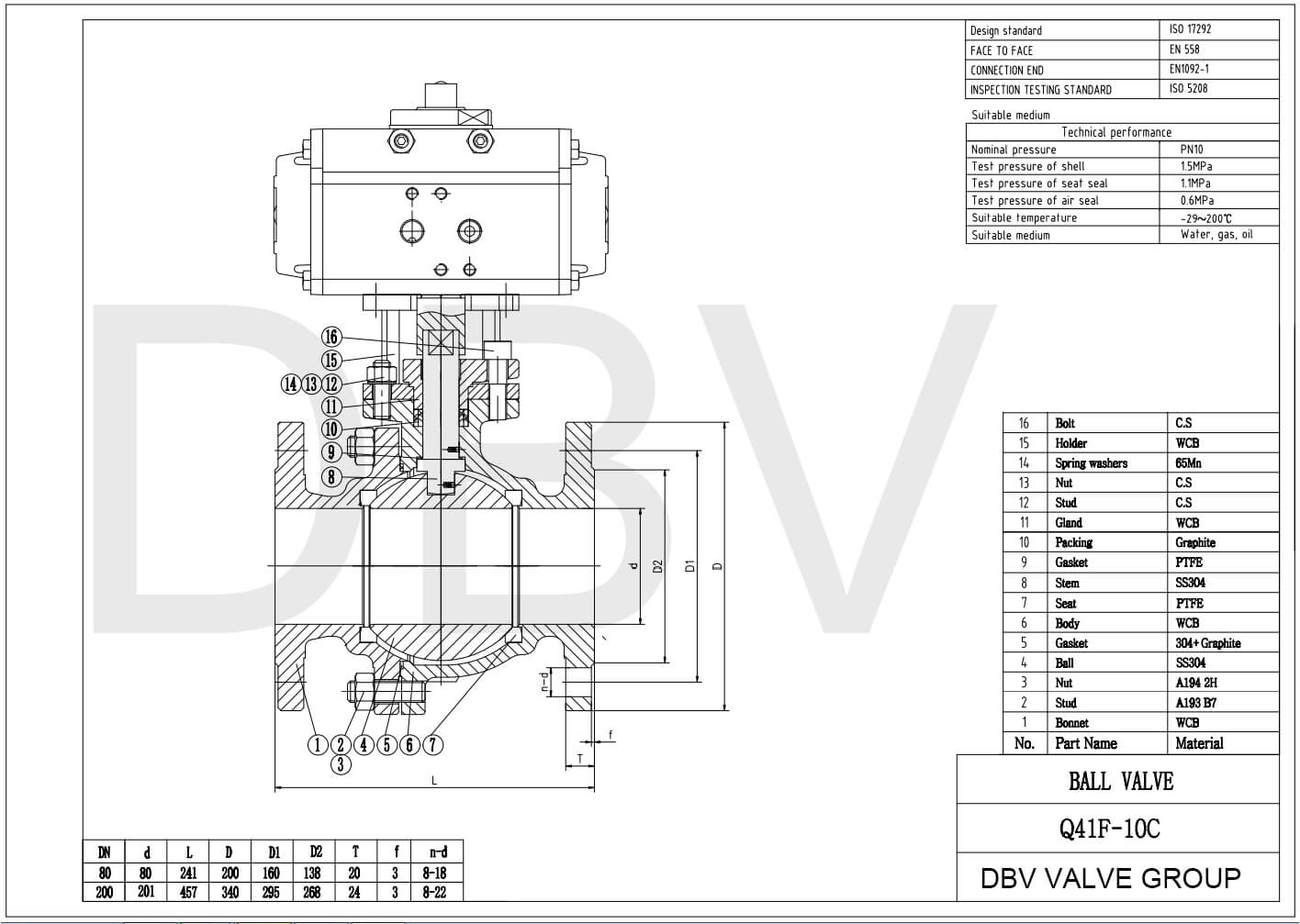 Pneumatic Ball Valve Drawing